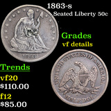 1863-s Seated Half Dollar 50c Grades vf details