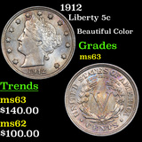 1912 Liberty Nickel 5c Grades Select Unc