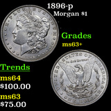 1896-p Morgan Dollar $1 Grades Select+ Unc