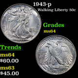 1943-p Walking Liberty Half Dollar 50c Grades Choice Unc