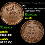 1863 Union For Ever Washington Mounted Civil War Token 1c Grades Choice AU/BU Slider