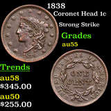 1838 Coronet Head Large Cent 1c Grades Choice AU