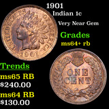 1901 Indian Cent 1c Grades Choice+ Unc RB