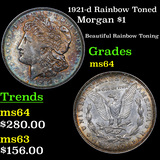 1921-d Rainbow Toned Morgan Dollar $1 Grades Choice Unc