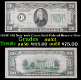 1934C $20 New York Green Seal Federal Reserve Note Grades Select AU