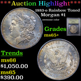 ***Auction Highlight*** 1883-o Rainbow Toned Morgan Dollar $1 Graded GEM+ Unc By USCG (fc)