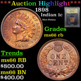 ***Auction Highlight*** 1898 Indian Cent 1c Graded GEM+ Unc RB By USCG (fc)