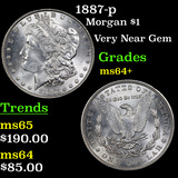 1887-p Morgan Dollar $1 Grades Choice+ Unc