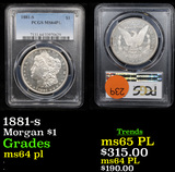 PCGS 1881-s Morgan Dollar $1 Graded ms64 pl By PCGS