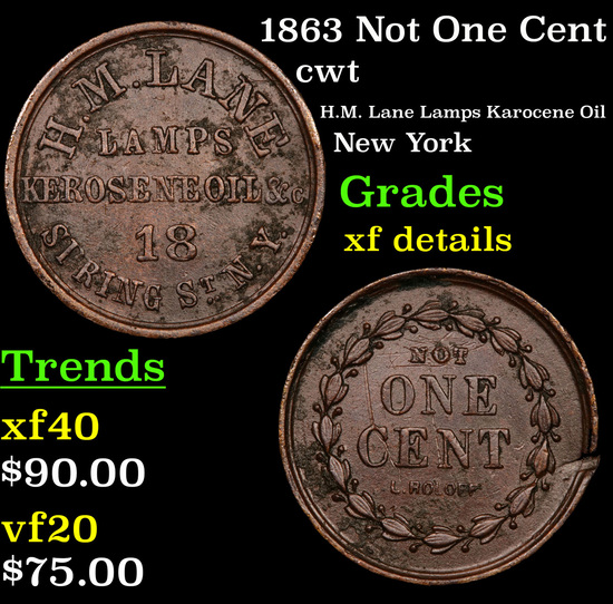 1863 Not One Cent Civil War Token 1c Grades xf details