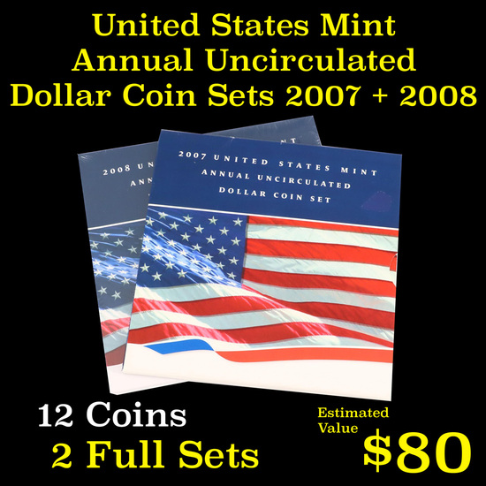 Group of 2 United States Mint Uncirculated Dollar Coin Sets 2007-2008 12 coins Grades