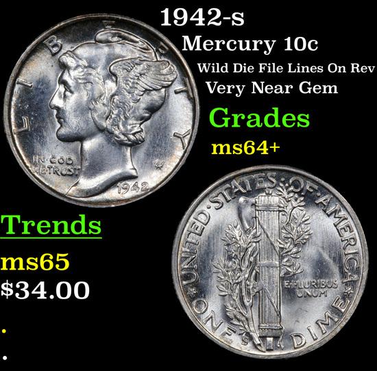 1942-s Mercury Dime 10c Grades Choice+ Unc