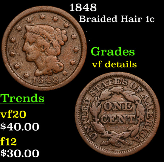 1848 Braided Hair Large Cent 1c Grades vf details