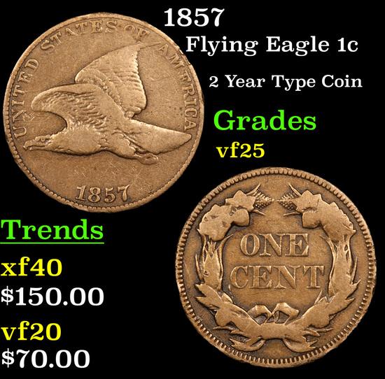 1857 Flying Eagle Cent 1c Grades vf+