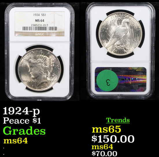 NGC 1924-p Peace Dollar $1 Graded ms64 By NGC