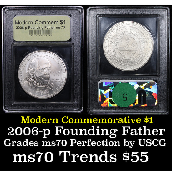 2006-p Ben Franklin Founding Father Modern Commem Dollar $1 Graded ms70, Perfection By USCG