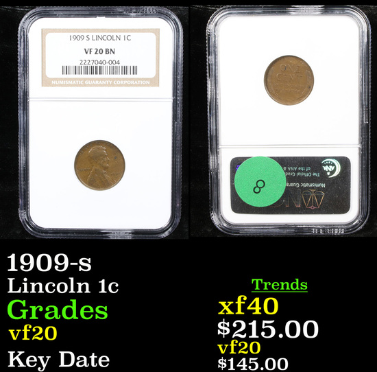 NGC 1909-s Lincoln Cent 1c Graded vf20 By NGC