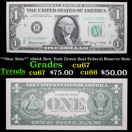 **Star Note** 1963A New York Green Seal Federal Reserve Note Grades Gem++ CU