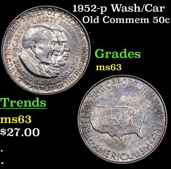 1952-p Wash/Car Old Commem Half Dollar 50c Grades Select Unc