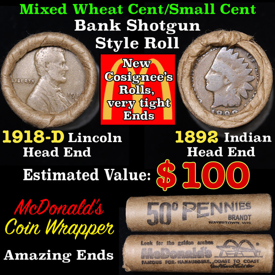 Mixed small cents 1c orig shotgun roll, 1918-d Wheat Cent, 1892 Indian Cent other end,McDnalds Wrapp