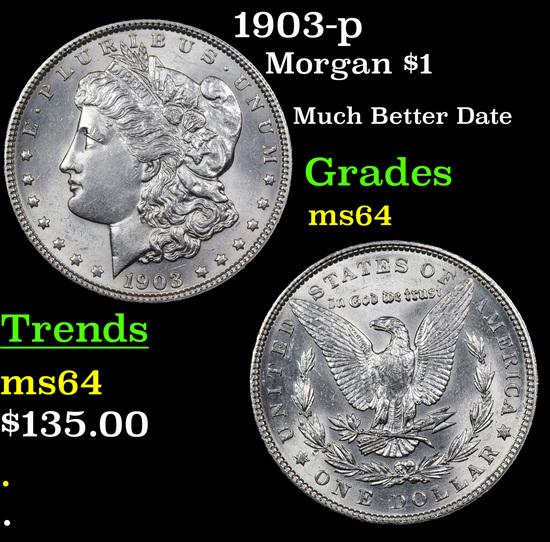 1903-p Morgan Dollar $1 Grades Choice Unc