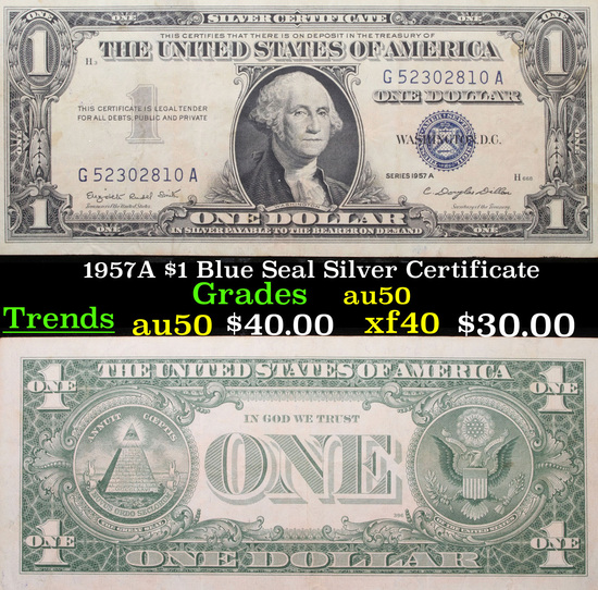 1957A $1 Blue Seal Silver Certificate Grades AU, Almost Unc