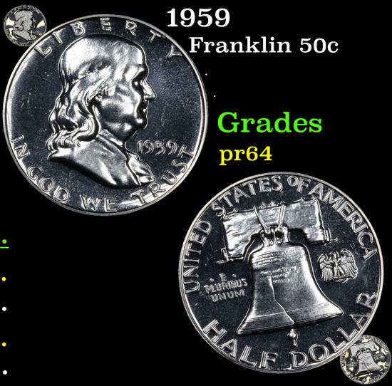 Proof 1959 Franklin Half Dollar 50c Grades Choice Proof