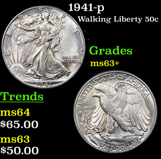 1941-p Walking Liberty Half Dollar 50c Grades Select+ Unc