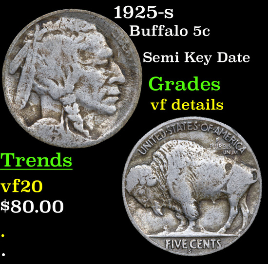 1925-s Buffalo Nickel 5c Grades vf details