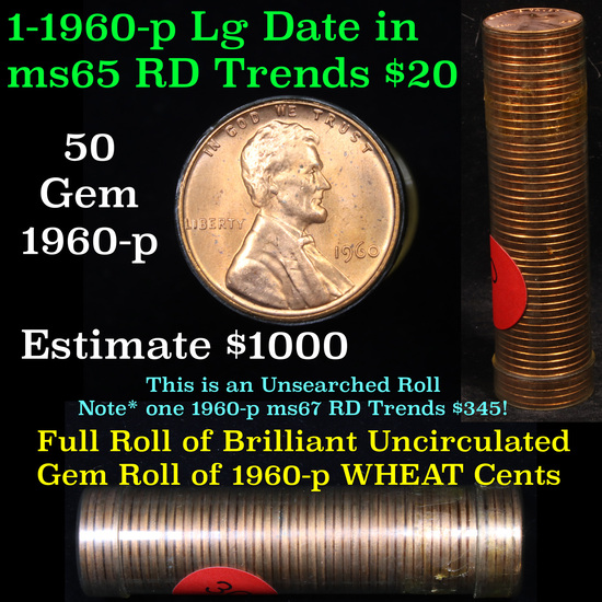 Uncirculated Lincoln 1c roll, 1960-p Large Date 50 pcs