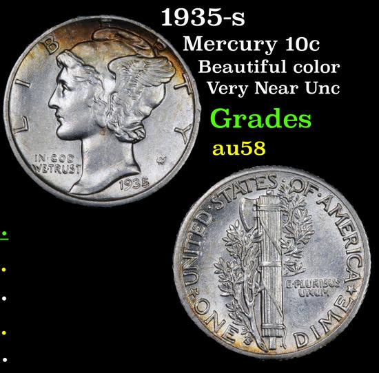 1935-s Mercury Dime 10c Grades Choice AU/BU Slider