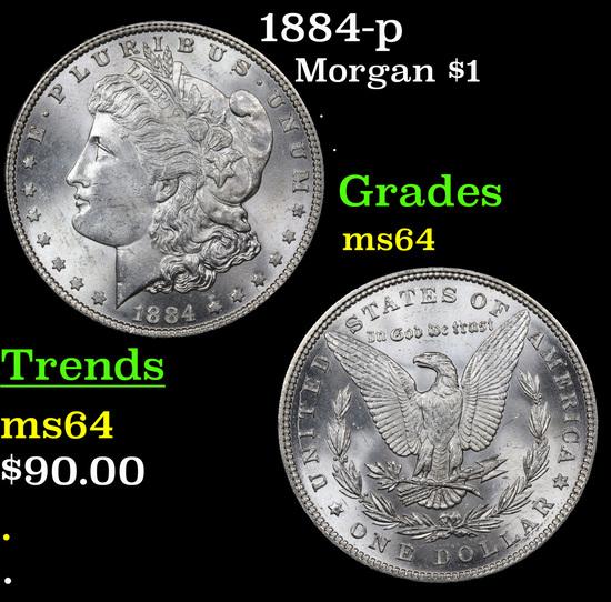 1884-p Morgan Dollar $1 Grades Choice Unc