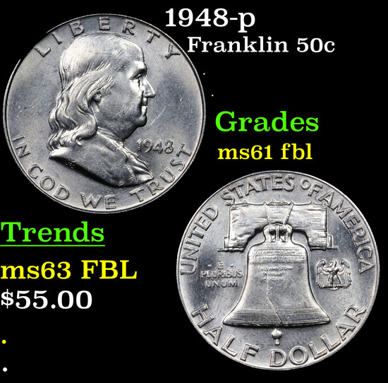 1948-p Franklin Half Dollar 50c Grades Unc+ FBL