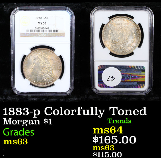 NGC 1883-p Colorfully Toned Morgan Dollar $1 Graded ms63 By NGC