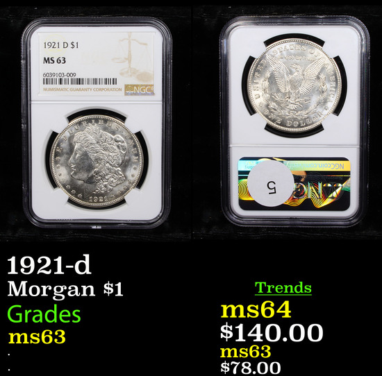 NGC 1921-d Morgan Dollar $1 Graded ms63 By NGC