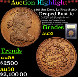 ***Auction Highlight*** 1803 Sm Date, Lg Frac S-260 Draped Bust Large Cent 1c Graded Select AU By US