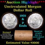 ***Auction Highlight*** 1901 & P Uncirculated Morgan Dollar Shotgun Roll (fc)