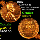 Proof 1937 Lincoln Cent 1c Grades Gem Proof Red