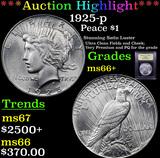 ***Auction Highlight*** 1925-p Peace Dollar $1 Graded GEM++ Unc By USCG (fc)
