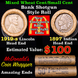 Mixed small cents 1c orig shotgun roll, 1919-s Wheat Cent, 1897 Indian Cent other end, McDonalds Wra