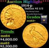 ***Auction Highlight*** 1914-p Gold Indian Quarter Eagle $2 1/2 Graded Select+ Unc By USCG (fc)