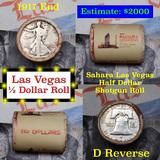 ***Auction Highlight*** Old Casino 50c Roll $10 In Halves Sahara Hotel Las Vegas 1917 Walker & 'D' F