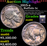 ***Auction Highlight*** 1915-s Buffalo Nickel 5c Graded GEM+ Unc By USCG (fc)