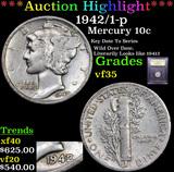 ***Auction Highlight*** 1942/1-p Mercury Dime 10c Graded vf++ By USCG (fc)