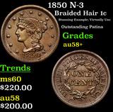 1850 N-3 Braided Hair Large Cent 1c Grades Choice AU/BU Slider+