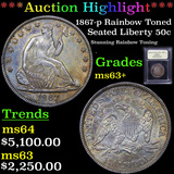 ***Auction Highlight*** 1867-p Rainbow Toned Seated Half Dollar 50c Graded Select+ Unc By USCG (fc)