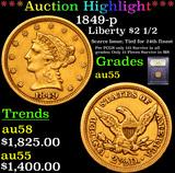 ***Auction Highlight*** 1849-p Gold Liberty Quarter Eagle $2 1/2 Graded Choice AU By USCG (fc)