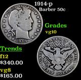 1914-p Barber Half Dollars 50c Grades vg+