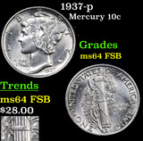 1937-p Mercury Dime 10c Grades Choice Unc FSB