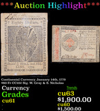 ***Auction Highlight*** Continental Currency January 14th, 1779 $80 Fr-CC102 Sig. W. Gray & S. Nicho